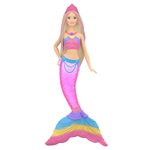 Hallmark Keepsake Christmas Ornament 2019 Year Dated Barbie Rainbow Mermaid with Light,