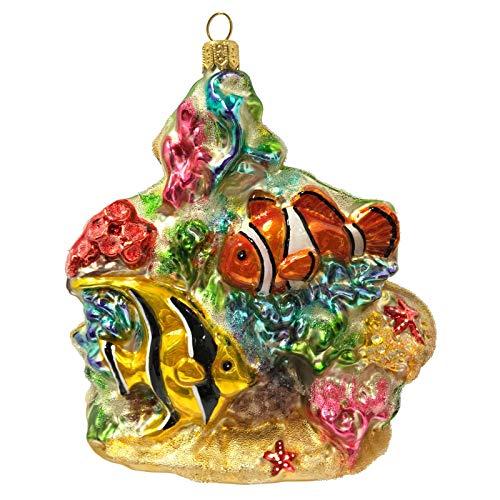 Pinnacle Peak Trading Company Coral Reef with Fish and Starfish Polish Glass Christmas Tree Ornament Sea Life