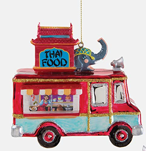 One Hundred 80 Degrees Thai Food Truck Christmas Holiday Ornament 4.25 Inches Glass