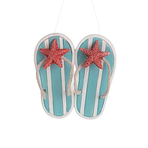Beachcombers Resin Blue Flipflop Starfish Ornament, 3.45-Inch Height
