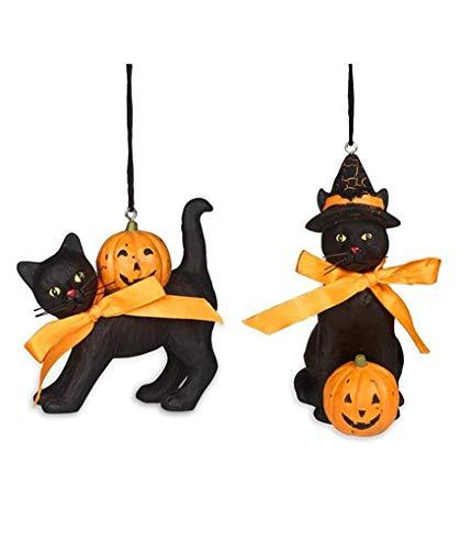 Bethany Lowe Black Cat and Jack O'Lantern Pumpkin Halloween 3.5″ Ornaments