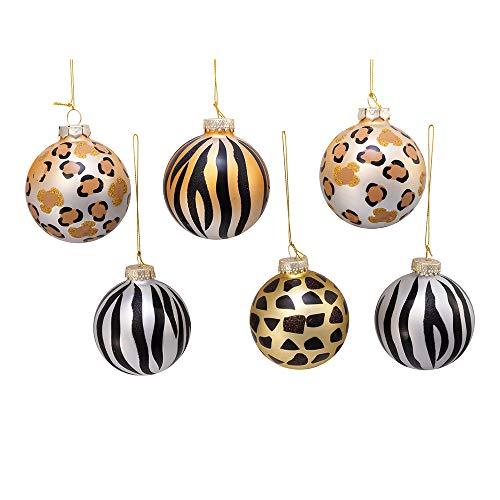 Kurt Adler Kurt S. Adler 80MM Gold, Silver and Black Animal Glass Ball, 6 Piece Box Ornament, Multi