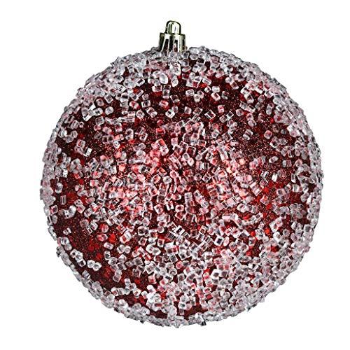 Vickerman 600191-6″ Burgundy Glitter Hail Ball Christmas Tree Ornament (4 pack) (N190365D)