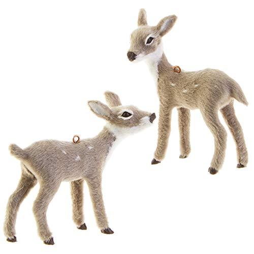 RAZ Imports Mini Grey Deer Figurine Ornaments – Set of 2 Assorted