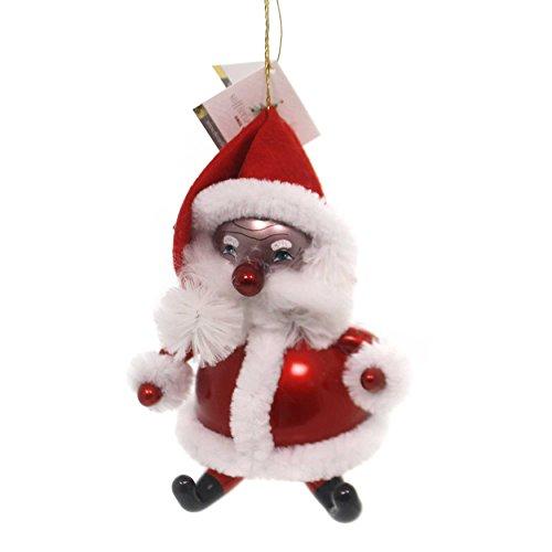 De Carlini African American Santa Glass Ornament Christmas Italian Bn361am