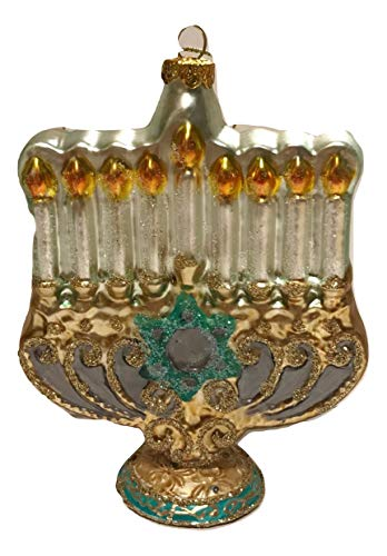 One Hundred Eighty Degrees White Candle Glass Menorah Old World Style Holiday Ornament