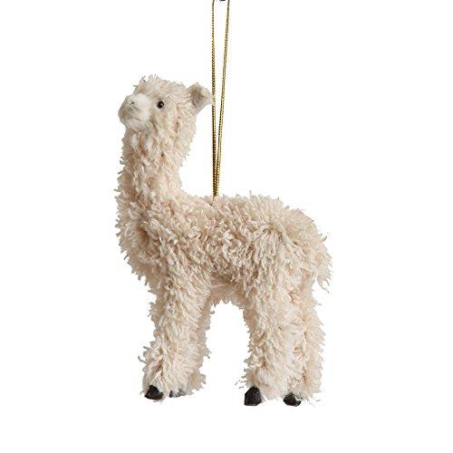 Creative Co-op Furry Llama Ornament, Cream