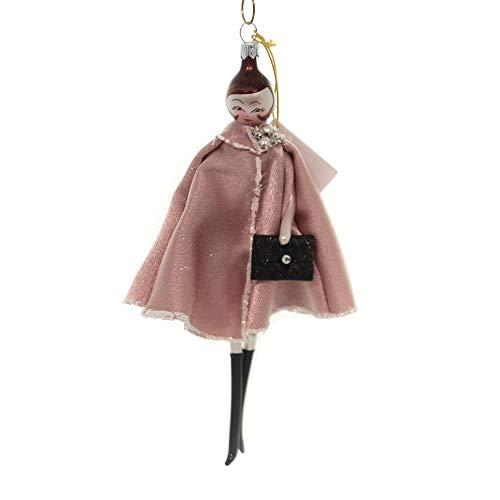 De Carlini Lady in Pink Cape Glass Italian Christmas Ornament Do7558