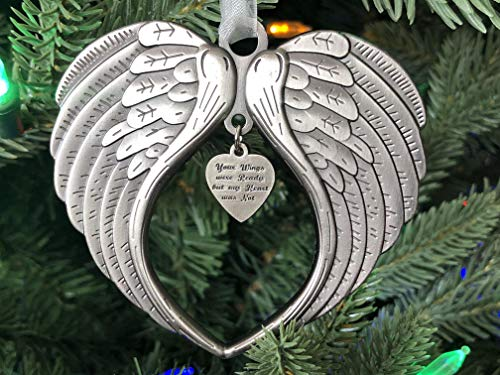 K9King Your Wings were Ready My Heart was Not Christmas Ornaments, Memorial Angel Wing Ornament for Loss of Loved one