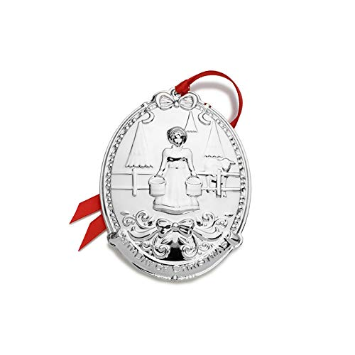 Towle 2019 Silver-Plate 12 Days of Christmas Ornament-8th Edition Eight Maids A-Milking Holiday Ornament, Metal