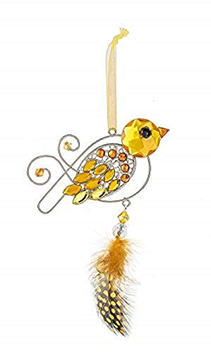 Ganz Acrylic Crystal Expressions Spring Feathered Bird Ornament 6″ ACRY-499 (Yellow)