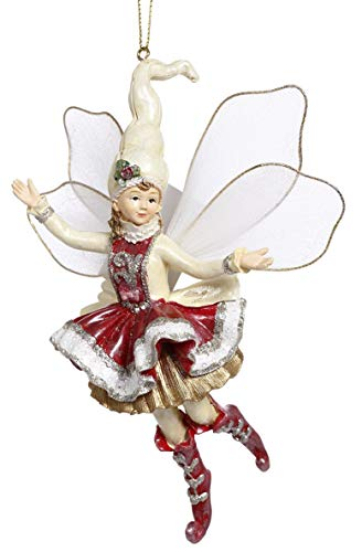 Mark Roberts Resin Limited Edition Fairy Hanging Ornament with Fabric Wings 6 Inches (Peppermint Fairy Girl 63-93268)