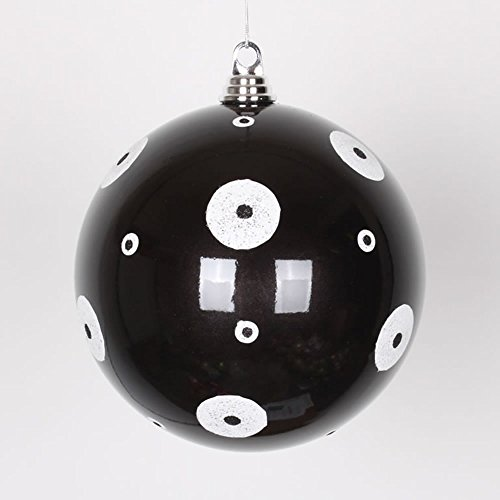 Vickerman Candy Black with White Glitter Polka Dots Commercial Size Christmas Ball Ornament, 8″