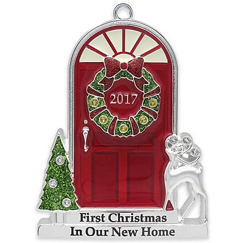 2017 Annual Door (in Red Box) Doorstep with Trees and Reindeer with Glow-in-the-Dark Windows Keepsake Harvey LewisTM Silver-Plated Ornament – Made with Swarovski® Elements