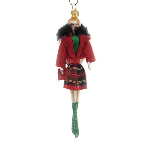 De Carlini Lady W/Plaid Skirt RED Jacket Italian Christmas Ornament Do7635