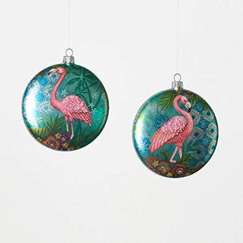 One Hundred 80 Degrees Flamingo Round Disc Christmas Holiday Ornaments Set of 2 Glass