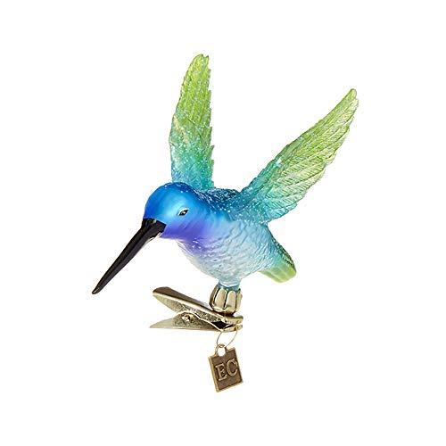 Raz Azure Blue Green Hummingbird Clip-On 5 inch Glass Decorative Christmas Ornament