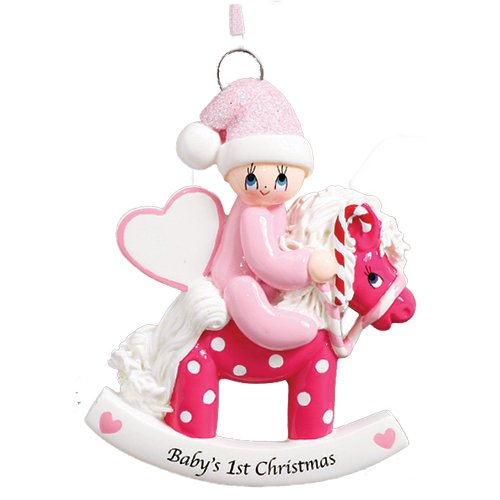 Personalized Baby's 1st Christmas Rocking Pony Tree Ornament 2019 – Girl Glitter Hat Heart Ride Polka Dot Horse Candy-Cane New Mom Shower Grand-Daughter – Free Customization (Pink)