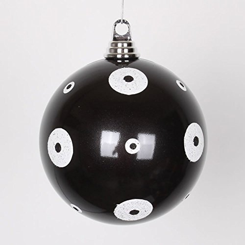 Vickerman Candy Black with White Glitter Polka Dots Commercial Size Christmas Ball Ornament, 6″