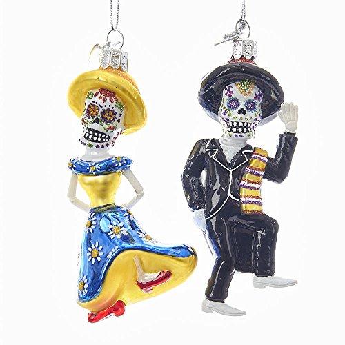 Kurt Adler 4.25″ Noble Gems Mr/Mrs Skeleton Ornaments Set of 2 Day of the Dead
