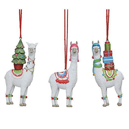 Creative Co-op Llama Winter White 6 inch Resin Stone Christmas Figurine Ornaments Set of 3