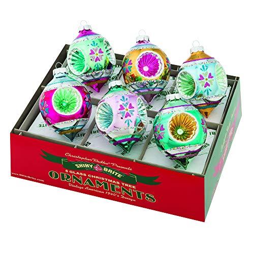 Shiny Brite Vintage Celebration 3.25″ Triple Reflector Tulip Ornaments – Set of 6