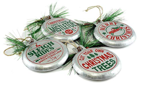 Special T Imports Tree Farm Vintage Style Metal Sign Hanging Ornaments – Set of 4