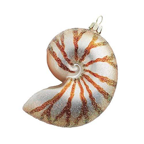 Raz 4-inch Nautilus Shell Glass Ornament