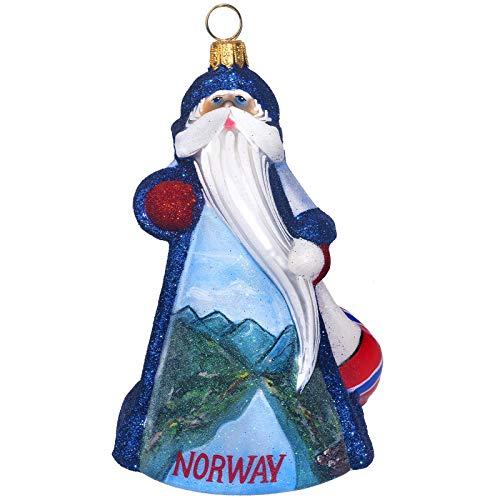 Joy to the World Collectibles Glitterazzi Norway Santa Polish Glass Christmas Ornament