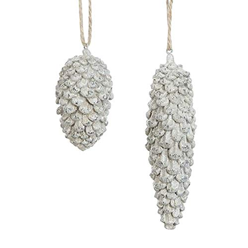 Creative Co-op Pinecone Winter White Glitter 5 inch Resin Stone Christmas Ornaments Set of 2