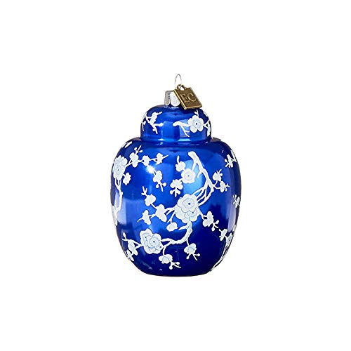 Raz imports Seasonal Royal Blue Ginger Jar 3 inch Glass Decorative Christmas Ornament
