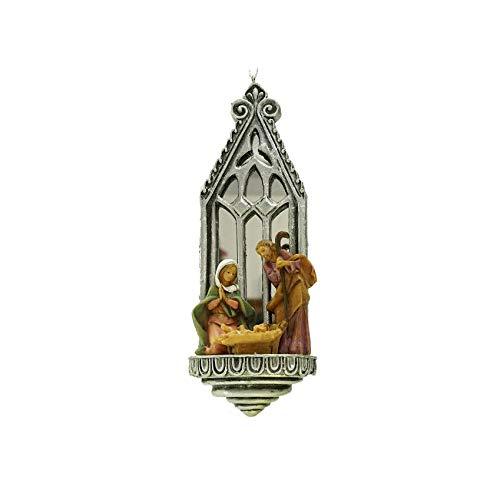 Roman 6.25″ Fontanini Holy Family Mirrored Arch Christmas Nativity Ornament #56365