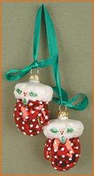 Cobane Studio LLC COBANEC326 Mittens Red Polka Dot Ornament