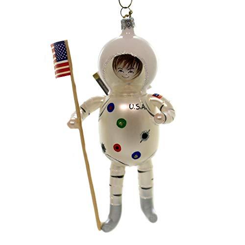 De Carlini USA Spaceman in White Suit Glass Christmas Italian Ornament Om4286m