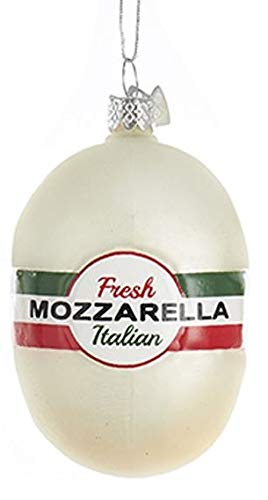 Kurt Adler Glass Ornament with S-Hook and Gift Box, Food Collection (Italian Cheese [Mozzarella])