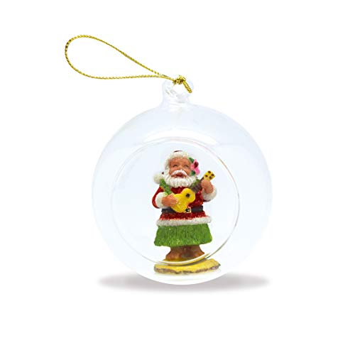 Island Heritage Hawaiian Ukulele Santa Hand-Painted Glass Globe Hawaii Christmas Ornament