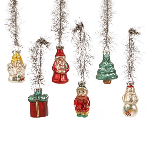 Box of 6 Molded Vintage Glass Christmas Ornaments