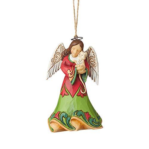 Enesco Jim Shore Heartwood Creek Angel Holding Kitten Ornament