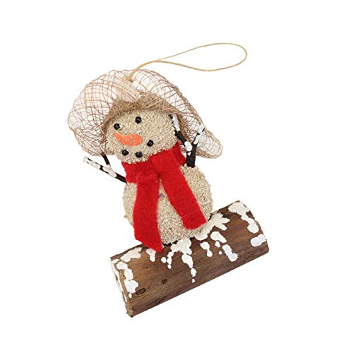 Beachcombers Wood Sandman Red Scarf Ornament