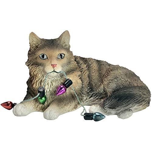 Sandicast Brown Tabby Maine Coon Cat with Holiday Lights Christmas Ornament