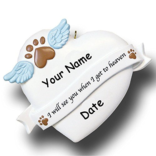 Personalized Pet Remembrance Memorial Christmas Ornament with Paw Print Angel Wings Dog Cat – Free Custom Name and Date