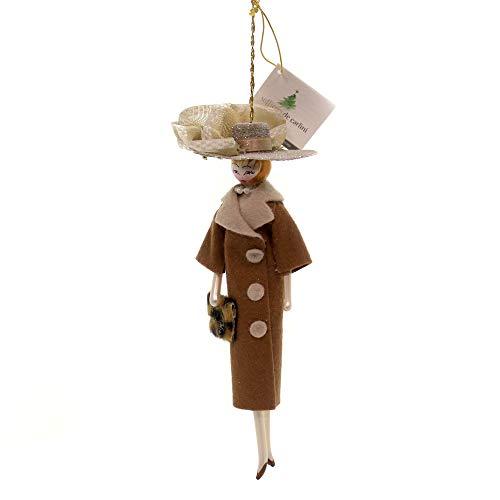 De Carlini Lady W/Brown Coat Cream HAT Glass Italian Christmas Ornament Do7455s
