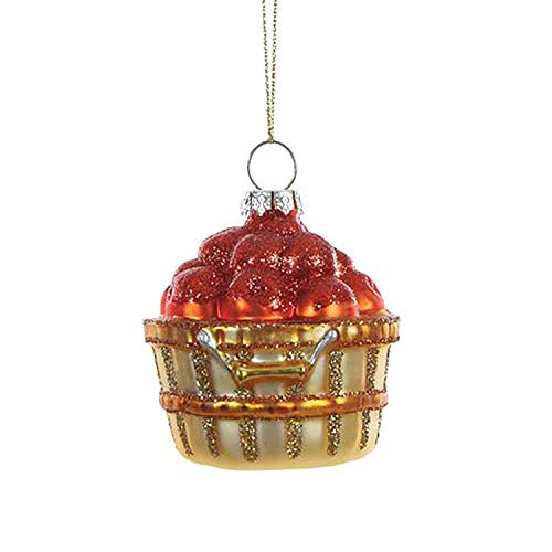 Creative Co-op Apple Bushel Rosy Red 3 inch Glass Christmas Hanging Figurine Ornament