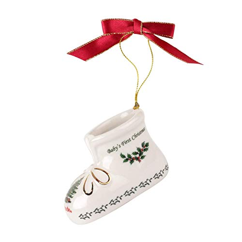 Spode Annual 'Baby's First Christmas' Baby Bootie Christmas Ornament, 2017 Edition