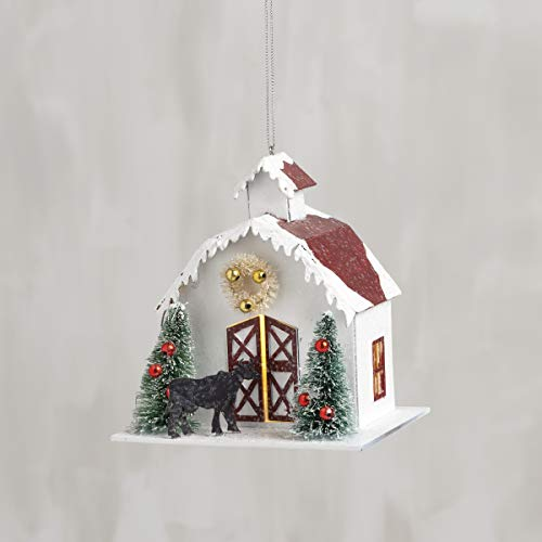 Primitives by Kathy Snowy Barn Ornament, 4.5″ Tall