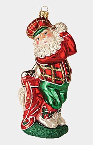 Pinnacle Peak Trading Company Golfing Santa Claus Polish Glass Christmas Tree Ornament Sports Golf Decoration