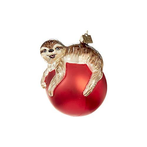 Festive Red Sleepy Sloth On Ball 3.75 inch Glass Decorative Christmas Ornament
