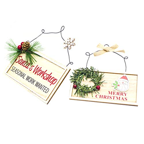 Amosfun Merry Christmas Wooden Hanging Square Ornament Xmas Santas Workshop Painting Door Plaque Decoration