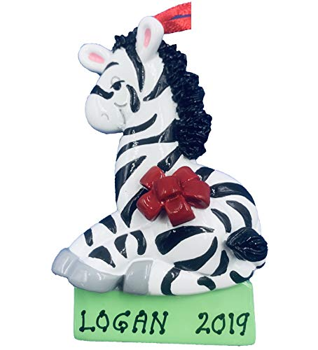 Rudolph and Me Personalized Zebra Christmas Ornament 2019