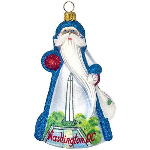 Joy to the World Collectibles Glitterazzi Washington DC Santa Polish Glass Christmas Ornament